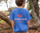 Oxford Blue | Youth Trademark Duck Tee | Short Sleeve T-Shirt | Kids Pocket Tee