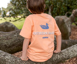 Peach | Youth Trademark Duck Tee | Short Sleeve T-Shirt | Kids Pocket Tee