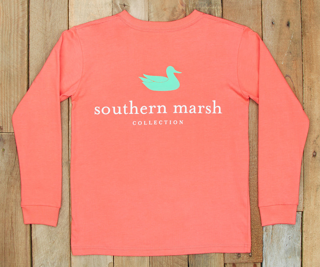 Coral | Youth Authentic Tee | Long Sleeve T-Shirt | Kids Southern Duck Shirt