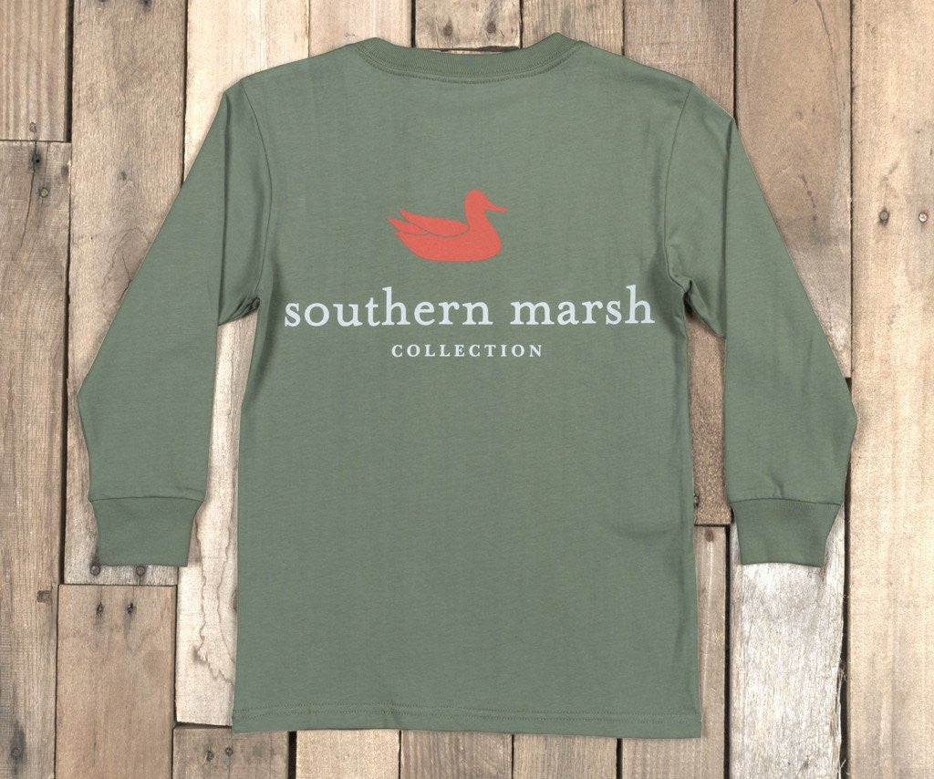 Bay Green | Youth Authentic Tee | Long Sleeve T-Shirt | Kids Southern Duck Shirt