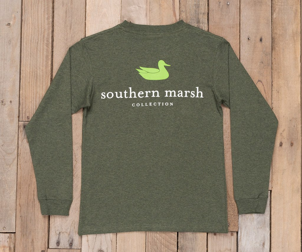 Washed Dark Green Heather | Youth Authentic Tee | Long Sleeve T-Shirt | Kids Pocket Tee