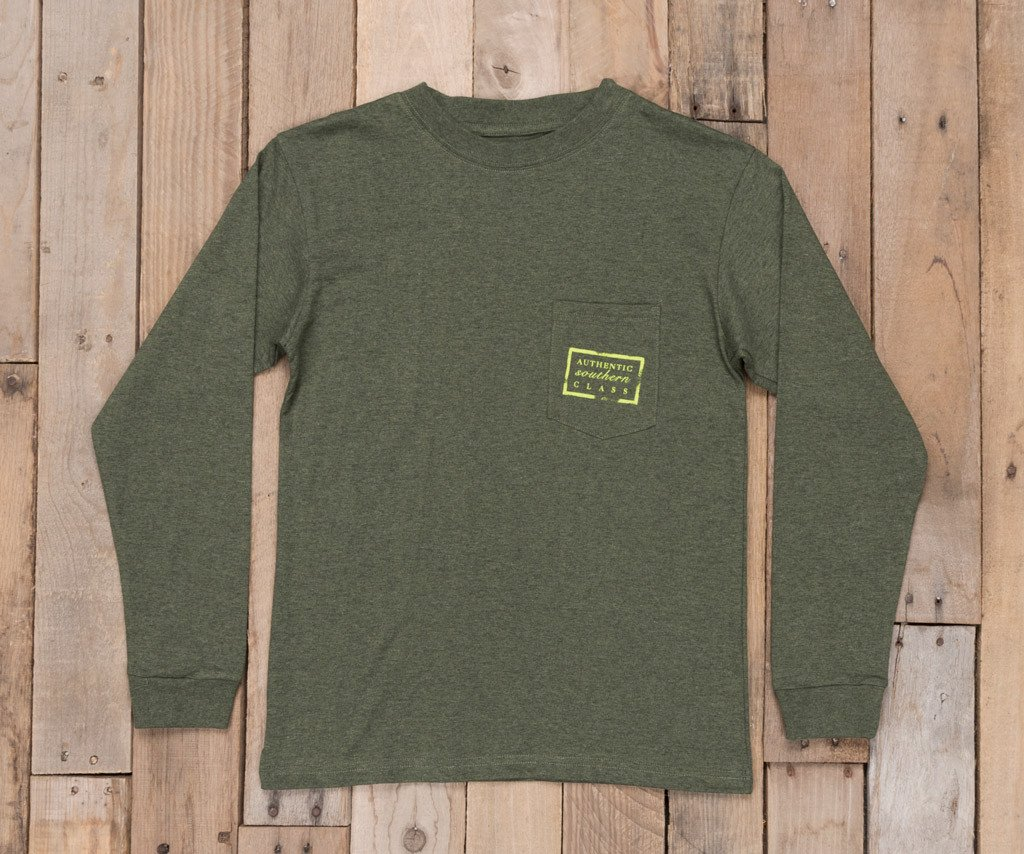 Washed Dark Green Heather | Youth Authentic Tee | Heather | Long Sleeve T-Shirt | Kids Southern Pocket Tee