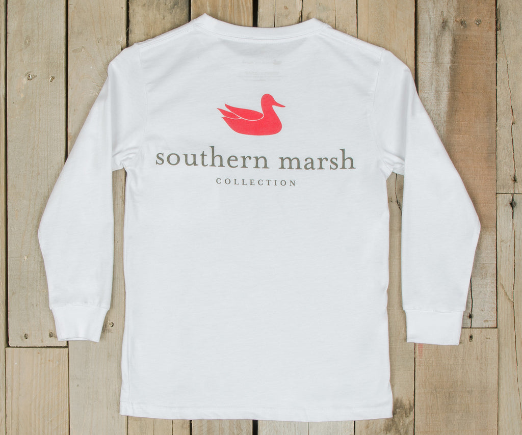 White | Youth Authentic Tee | Long Sleeve T-Shirt | Kids Southern Duck Shirt