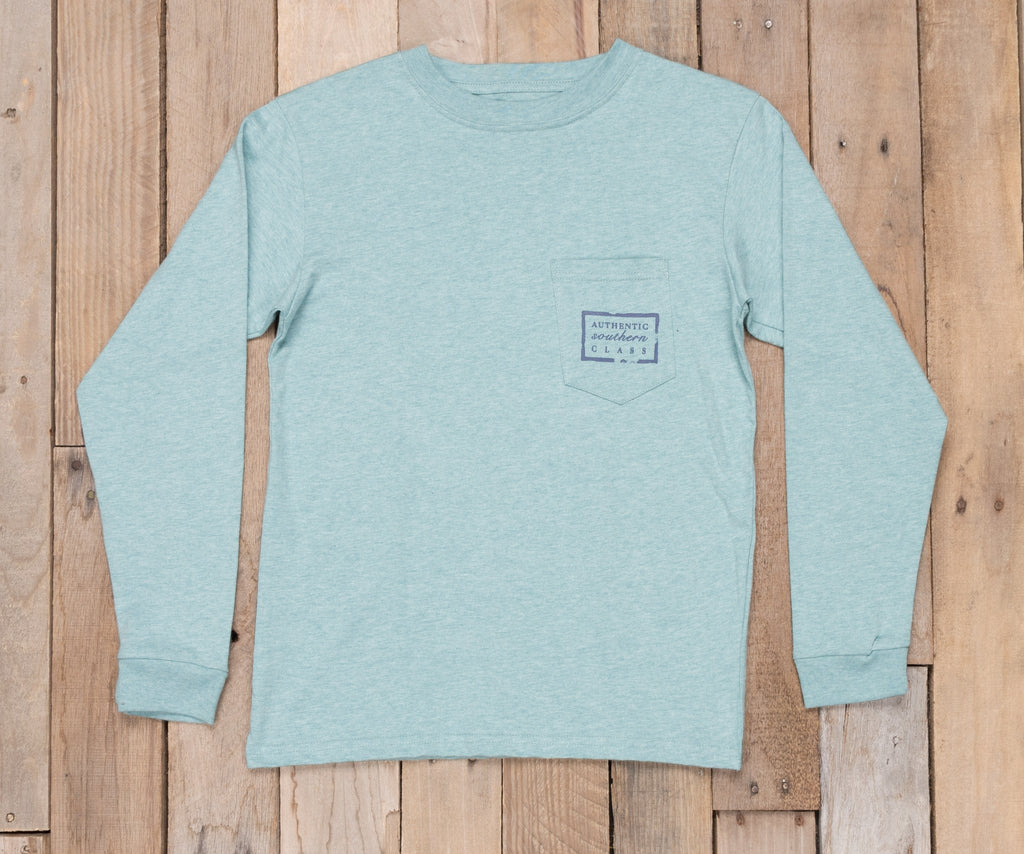 Washed Moss Blue Heather | Youth Authentic Tee | Heather | Long Sleeve T-Shirt | Kids Southern Duck Shirt