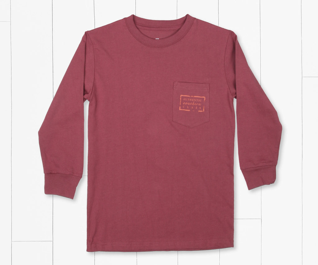 Wine | Youth Authentic Tee | Long Sleeve T-Shirt | Kids Southern Duck Shirt