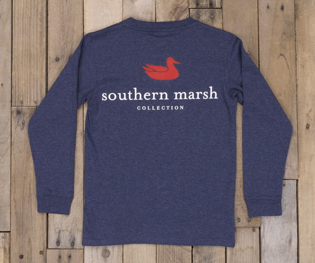 Washed Navy Heather | Youth Authentic Tee | Heather | Long Sleeve T-Shirt | Kids Southern Duck Shirt