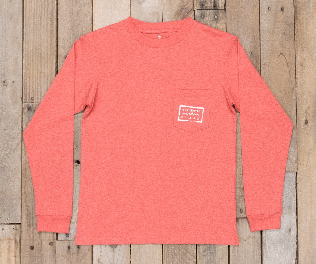 Washed Red Heather | Youth Authentic Tee | Heather | Long Sleeve T-Shirt | Kids Southern Duck Shirt
