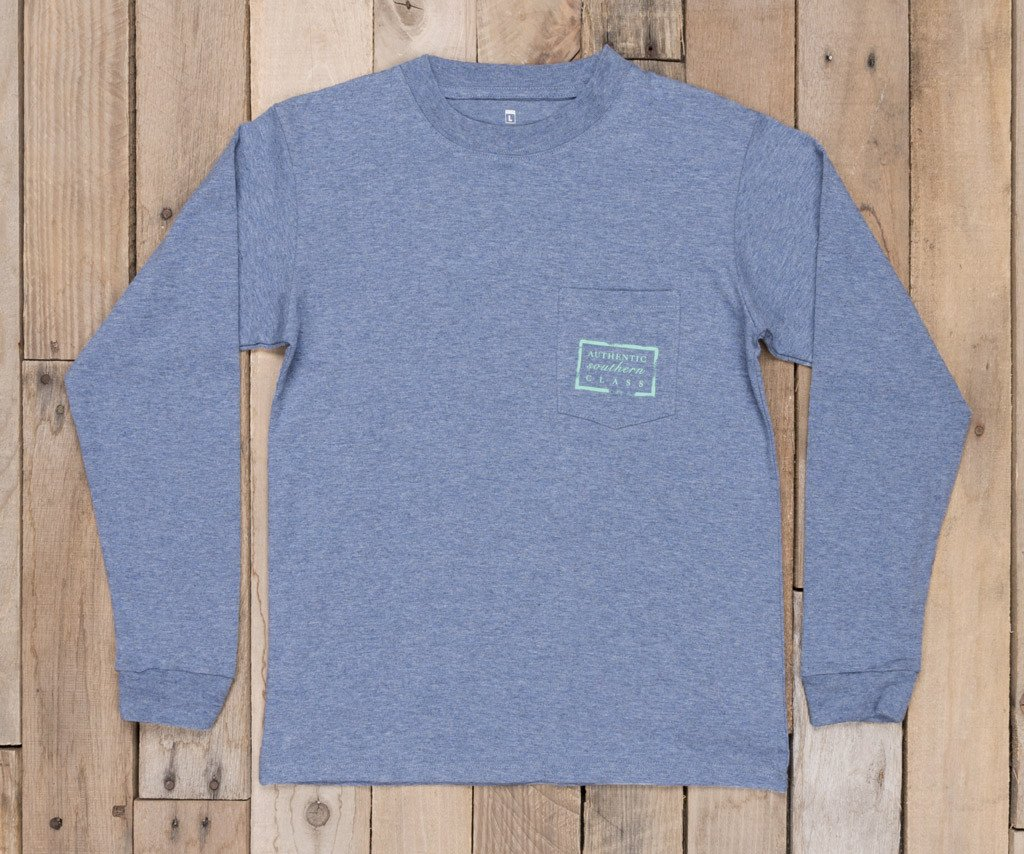 Washed Slate Heather | Youth Authentic Tee | Heather | Long Sleeve T-Shirt | Kids Southern Duck Shirt