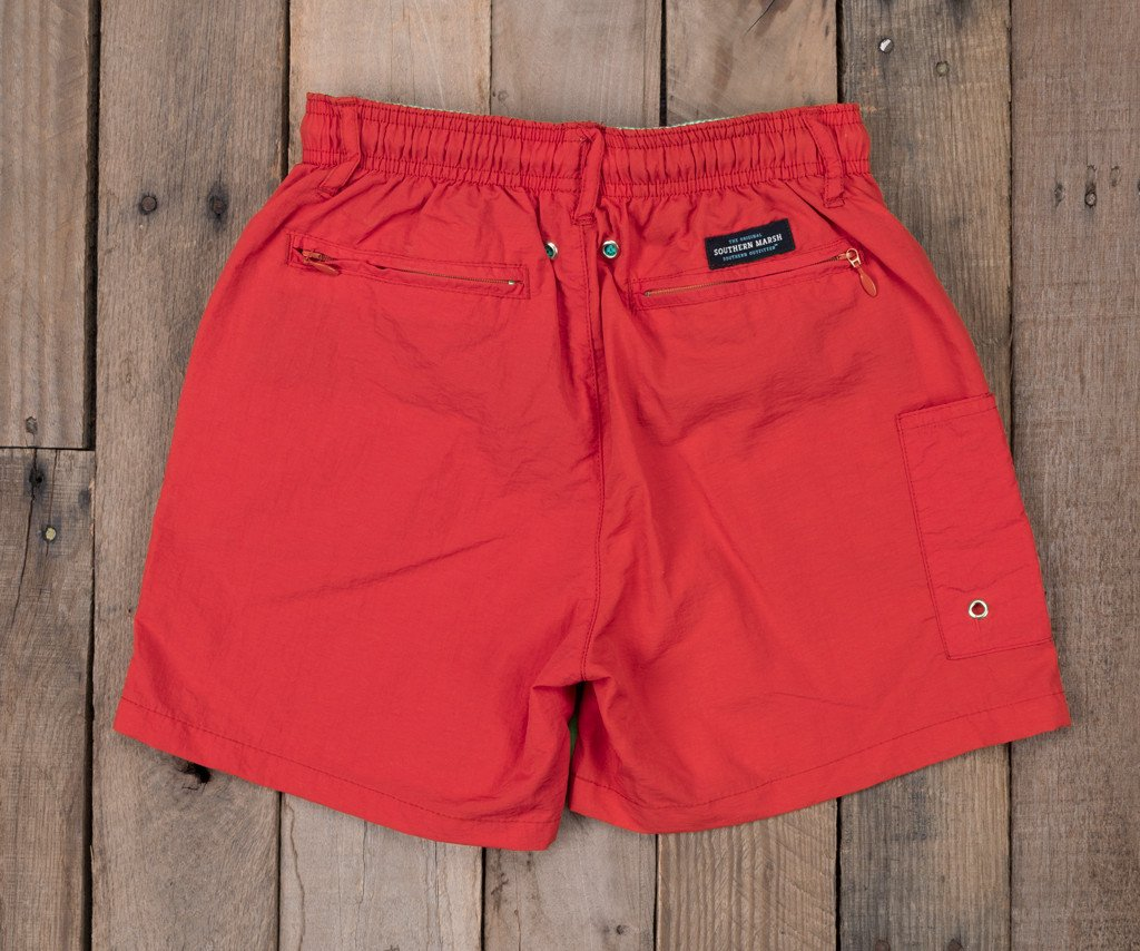 Red | Youth Dockside Swim Trunk | Youth Swim Shorts | Back