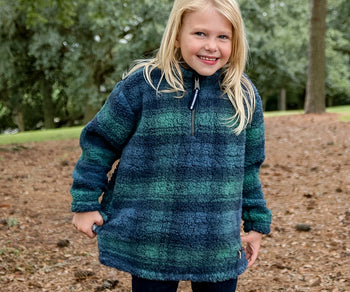 Youth Andover Plaid Sherpa Pullover