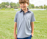 Light Blue and Gray | Youth Bermuda Performance Polo | Hawthorne