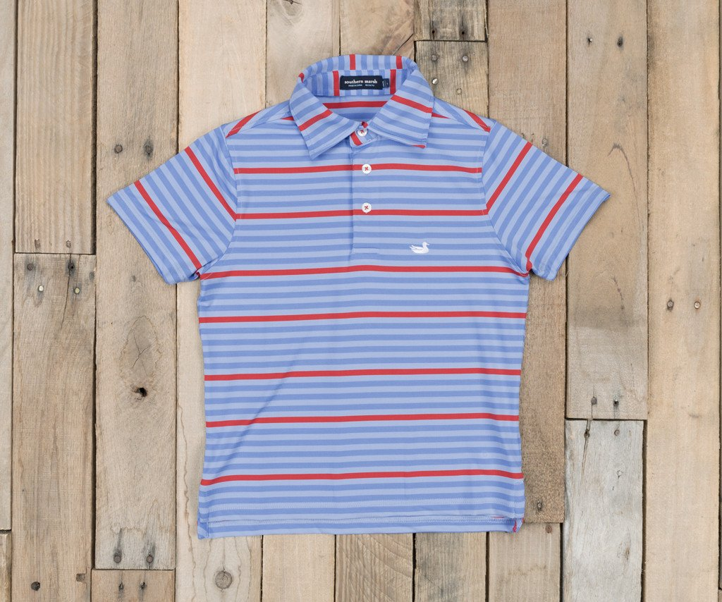 French Blue and Red Newberry | Youth Bermuda Performance Polo | Newberry