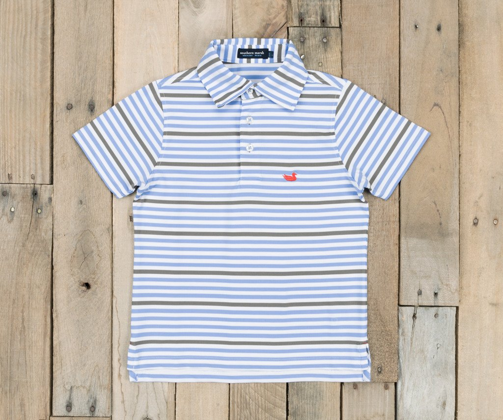 Light Blue and Gray Newberry | Youth Bermuda Performance Polo | Newberry