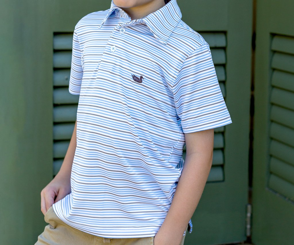 White and French Blue | Youth Oakwood Performance Polo | Southern Kids Polo