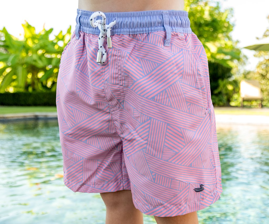 Youth Dockside Swim Trunk - Fractured Lines