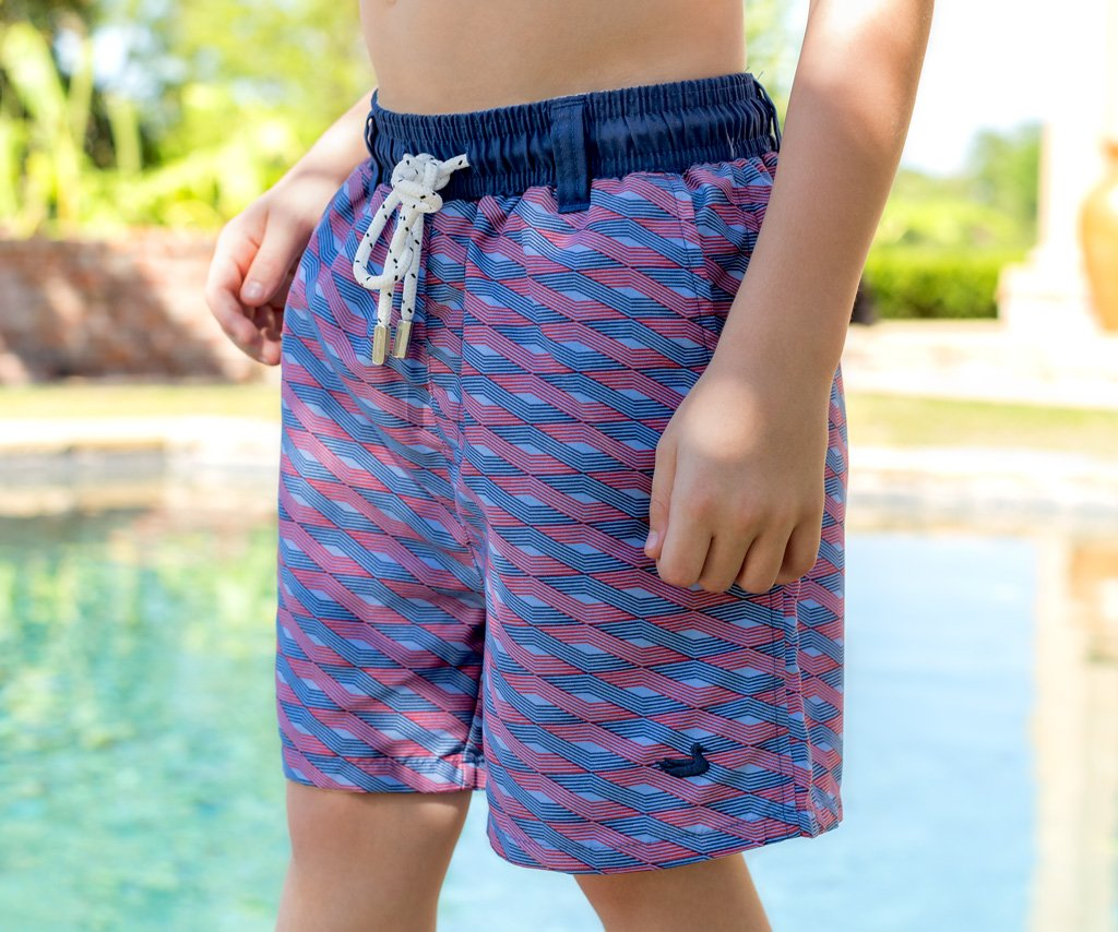 Blue and Red | Youth Dockside Swim Trunk | Lattice | Boys Swim Shorts