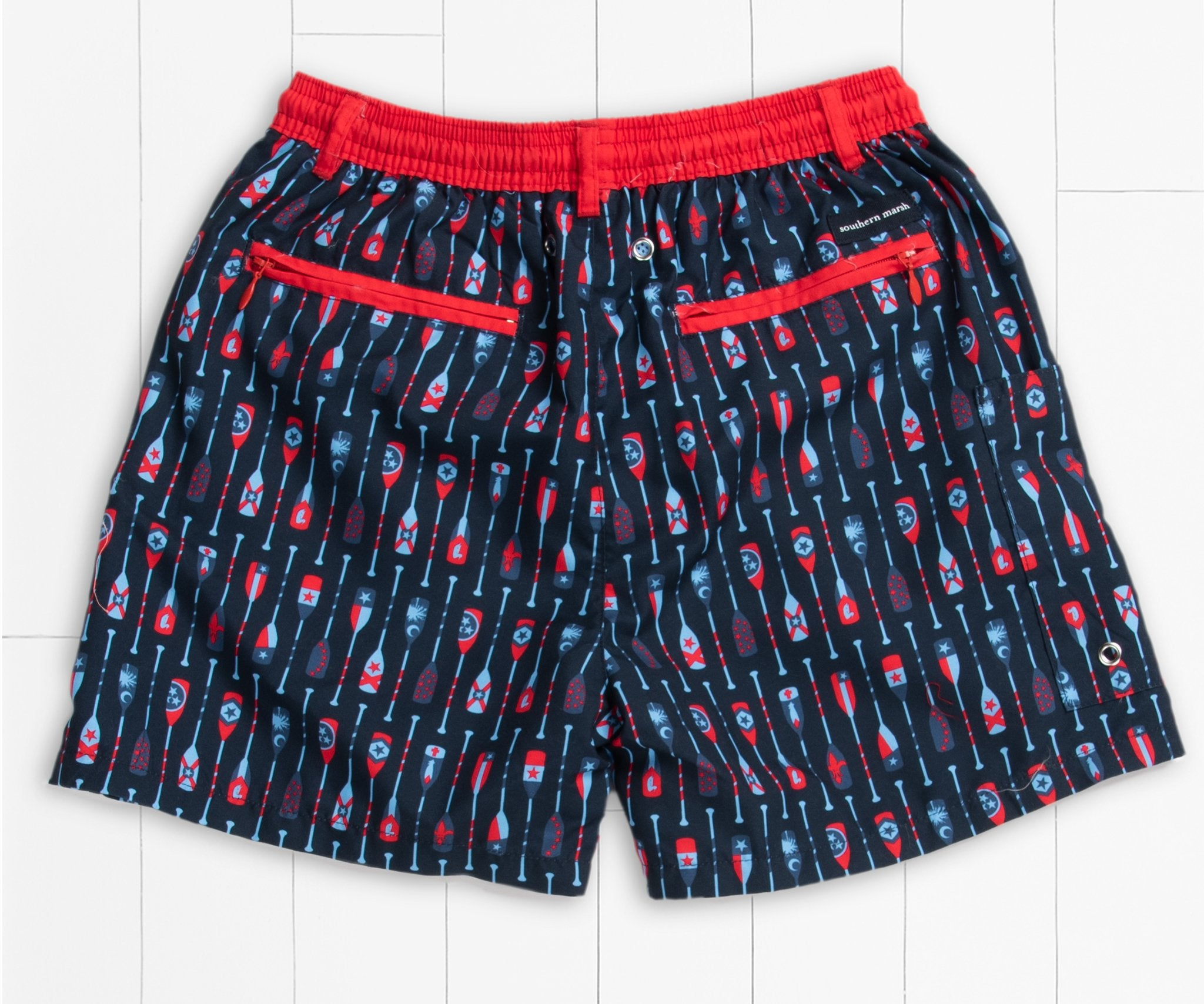 Southern Marsh Youth Paddle Dockside Swim Trunk in Navy and Red