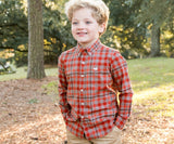 Burnt Taupe and Burnt Orange | Youth Boundary Washed Plaid Dress Shirt