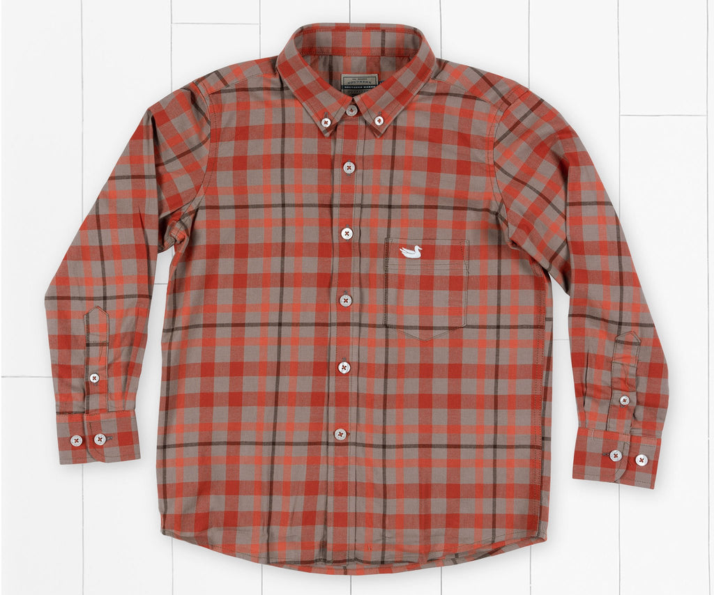 Southern Marsh Youth Boundary Washed Plaid Dress Shirt in Burnt Taupe and Burnt Orange