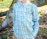 Slate and Mint Mansur | Youth Mansur Windowpane | Youth Long Sleeve Dress Shirt