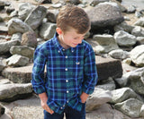 Dark   Green and Navy | Youth Williamson Washed Plaid | Dress Shirt | Youth Long Sleeve Dress Shirt | Lifestyle