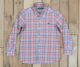 Red  and Navy | Youth Juban Check Dress Shirt | kids preppy