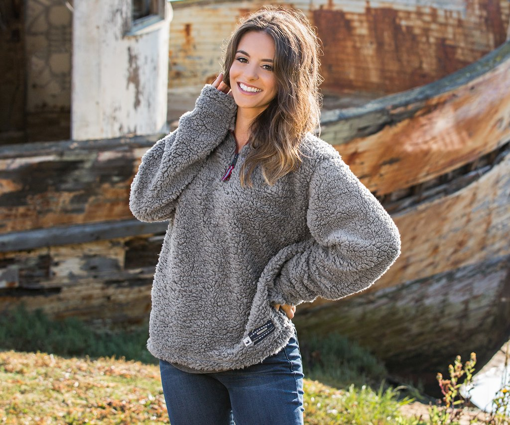 Appalachian Pile Sherpa Pullover - Burnt  Taupe and White