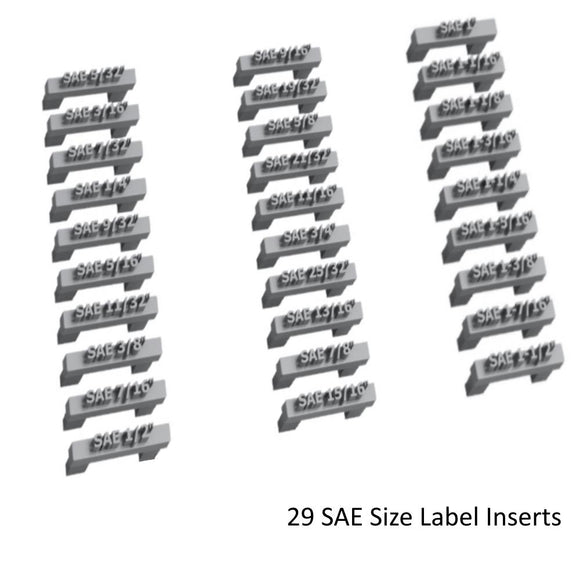 Toolbox Widget SAE SIZE LABEL INSERTS 29 Modular SAE Size Label Inserts plug into the top of any Vertical Wrench Widgets 5/32