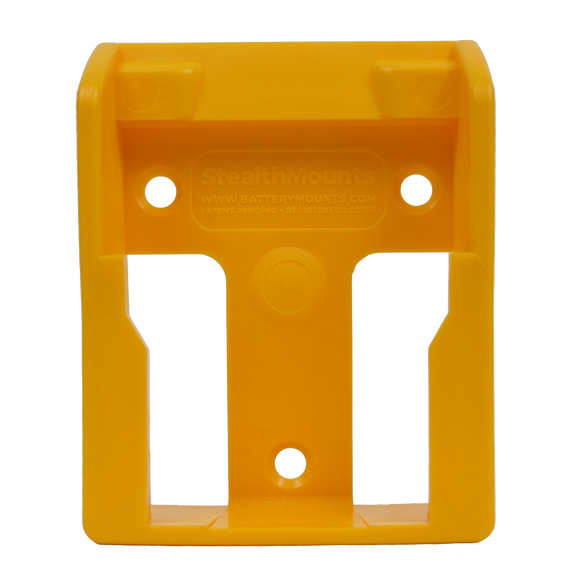 •	StealthMounts DeWalt XR Range 18-20V & 54-60V Flexvolt Battery Mounts Solid Injection molded ABS plastic •	Used as a dust cover •	Easy to assemble •	Compact size and durable •	Economic package of Six •	Available in Black, Yellow and Red colours •	Clicks securely into place, no excess rattle •	Colour options can be used to signify dead batteries. Red = Dead