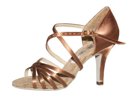 AIDA Dark Tan Satin Karina Flare Heel-Side View | SM Dance Fashion
