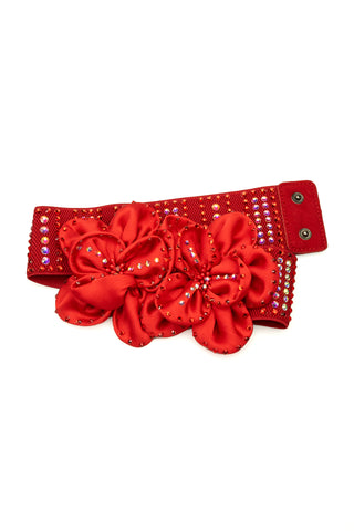 Ruby Flower Crystal Belt-Front View | SM Dance Fashion