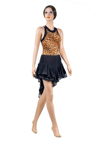 Halter Cross Back Leopard Body-Front View | SM Dance Fashion