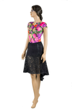 Floral Print Short Sleeve Body-Front Angled View | SM Dance Fashion
