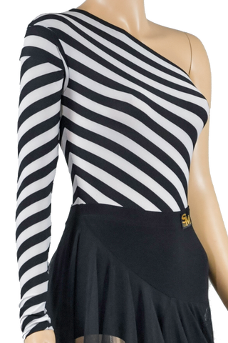 One Shoulder Zebra Print Body Suit-Front Top View | SM Dance Fashion
