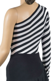 One Shoulder Zebra Print Body Suit-Back Top View | SM Dance Fashion