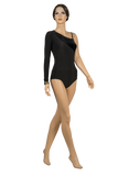 Velour Asymmetrical One Sleeve Ballroom & Smooth Body-Front View | SM Dance Fashion