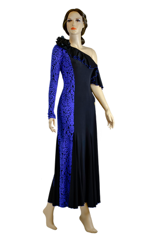 Floral Blue Print One Shoulder Ballroom & Smooth Dress-Front View | SM Dance Fashion