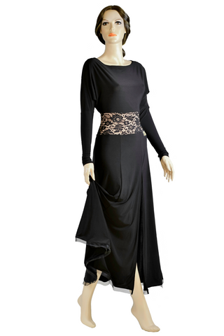 Boat-Neck Loose Long Sleeves Ballroom & Smooth Dress-Front View | SM Dance Fashion