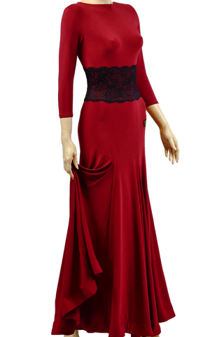 O-Neck Lace Long Ballroom Dress