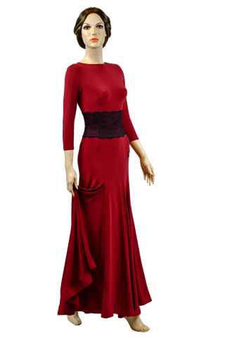 O-Neck Lace Long Ballroom Dress-Front View | SM Dance Fashion
