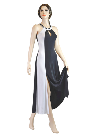 Halter Black-White High Neckline Ballroom & Smooth Dress-Front View | SM Dance Fashion