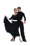 White Velour w/ Mesh Edge Ballroom & Smooth Dress - Where to Buy Dancewear SM Dance Fashion Competition Outfit Costume