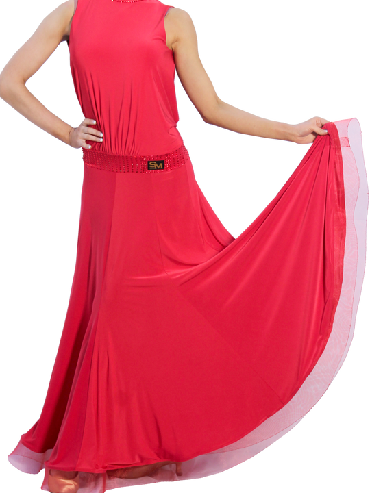 High Collar Open Back Maxi Ballroom & Smooth Dress