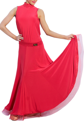 High Collar Open Back Maxi Ballroom & Smooth Dress - Where to Buy Dancewear SM Dance Fashion Competition Outfit Costume