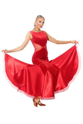 Velour & Satin Knitted Ballroom & Smooth Dress | SM Dance Fashion