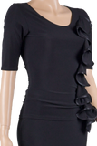 Mid-Elbow Sleeve One Side Frill Blouse-Front Top View | SM Dance Fashion
