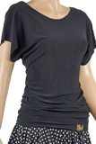 X-Cross Open Back Loose Fit Blouse-Front Top View | SM Dance Fashion