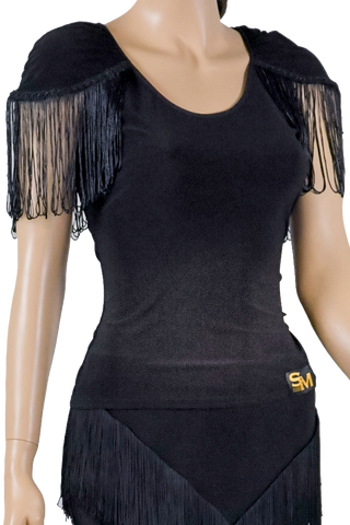 Fringe Cap Sleeve Blouse - Where to Buy Dancewear SM Dance Fashion Competition Outfit Costume