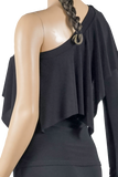 One Shoulder Frill Blouse-Back Top View | SM Dance Fashion