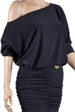 Relaxed Fit Dolman Blouse-Front Top View | SM Dance Fashion